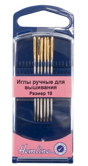Иглы для вышивания с закруглённым кончиком №18, 6шт
