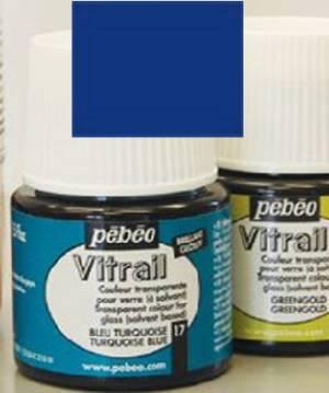 Лаковая краска прозрачная для стекла и металла Vitrail, 45мл, цвет Темно-синий