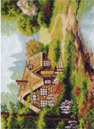 Рисунок на канве 37х49см Лесная хижина