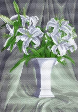 Рисунок на канве 33х45см (37х49см) Белые лилии