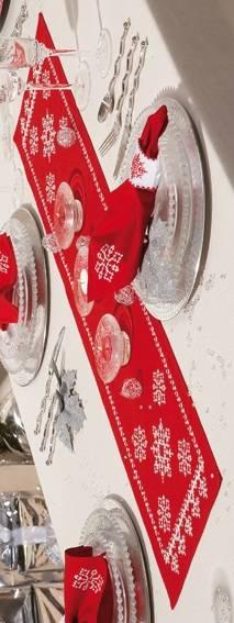 Набор для вышивания Дорожка Красные рождественские снежинки