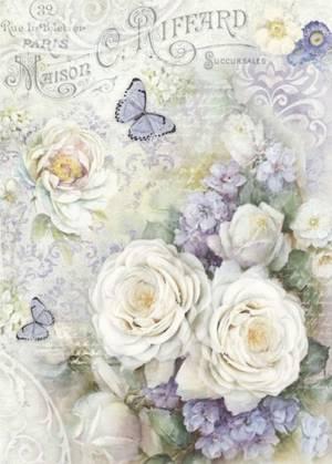 Бумага рисовая Stamperia А4 Белые розы и лиловые бабочки