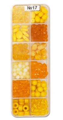 Набор бусин и бисера, стекло, 12видов, 170г, цвет Ассорти желтый