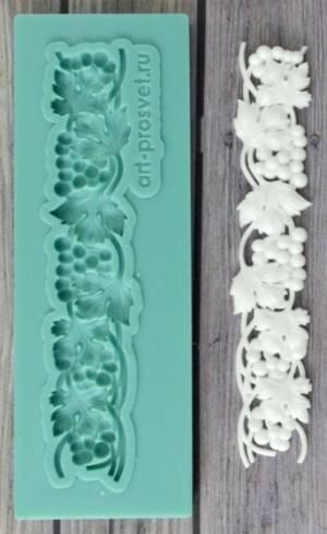 Молд силиконовый Бордюр из виноградной лозы малый, 7х1,3см.