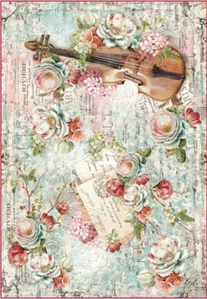 Бумага рисовая Stamperia Розы, скрипка