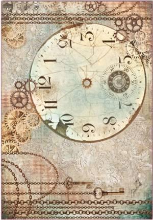 Бумага рисовая Stamperia По часовой стрелке, часы