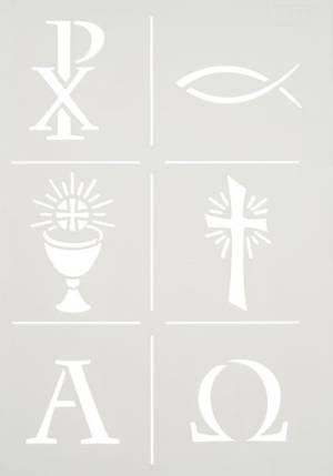 Трафарет 21х27см, Христианские символы