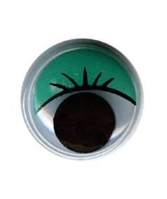 Глаза круглые с бегающими зрачками, 15мм, 24шт., цвет Зеленый