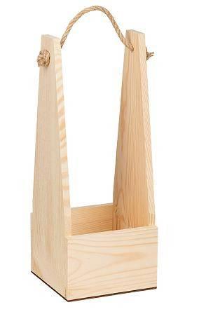 Ящик квадратный с веревочной ручкой, сосна, 14х14см