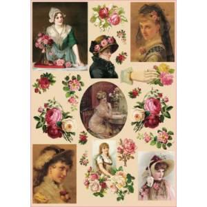 Декупажная карта Calambour Розы и девушки