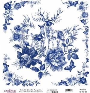 Рисовая карта Blue Shades Cadence 30х30см, Олени, цветы