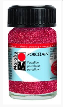 Краска по керамике, без обжига, Marabu-Porcelain, 15 мл, цвет Красный с блёстками