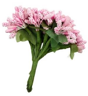 Декоративный элемент Веточки с цветами, 12 шт, цвет Розовый