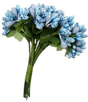 Декоративный элемент Веточки с цветами, 12 шт, цвет Голубой