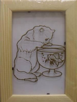 Витраж-раскраска Кот и рыбка АК