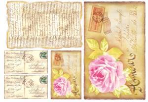 Бумага рисовая Stamperia Письма и розы