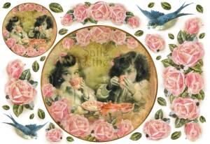 Бумага рисовая Stamperia Чай  и цветы